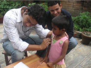 Dr Narayan making sure the children are alright