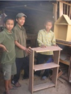 The budding carpenters show us what they have made
