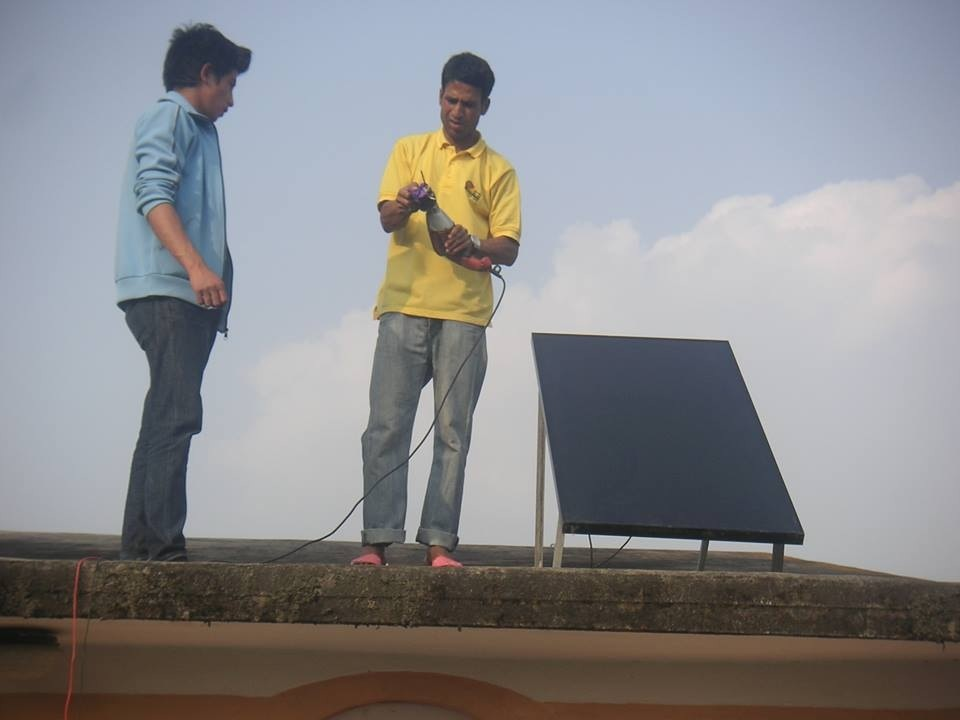 The solar panel being set up
